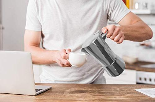 bonVIVO Stovetop Maker, Italian Espresso Coffee Maker, Maker Machine For Bodied Coffee, Espresso For 5-6 Pot With Chrome Finish