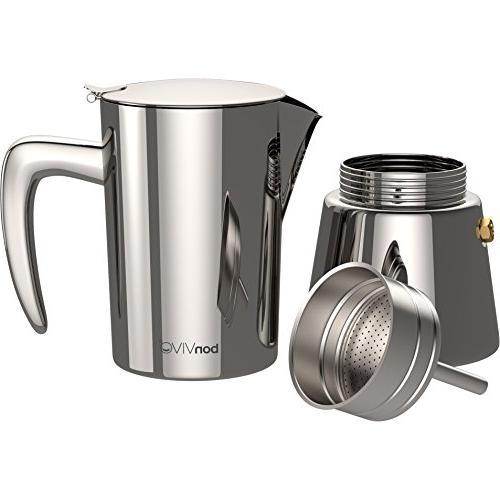 bonVIVO Intenca Stovetop Maker, Italian Espresso Maker, Maker Machine Bodied Coffee, Espresso For Cups, Moka Pot