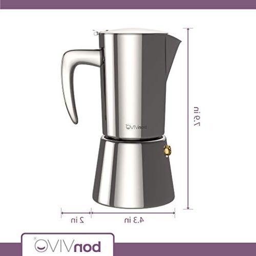bonVIVO Intenca Stovetop Maker, Espresso Maker, Stainless Espresso Maker For Full Bodied Coffee, For Pot Silver Finish