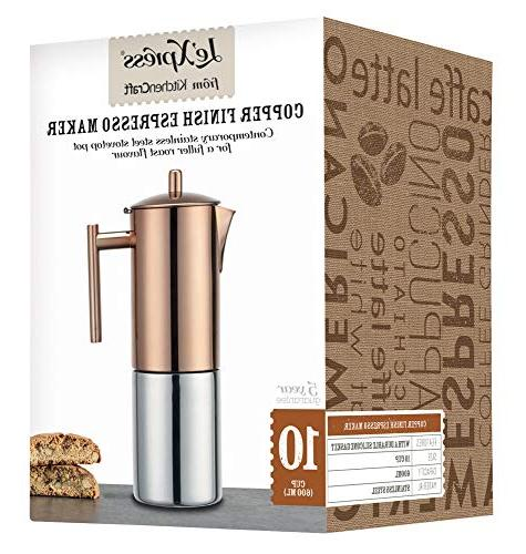 Le'xpress Stainless Steel Copper Effect Coffee Maker 600ml Gift Boxed