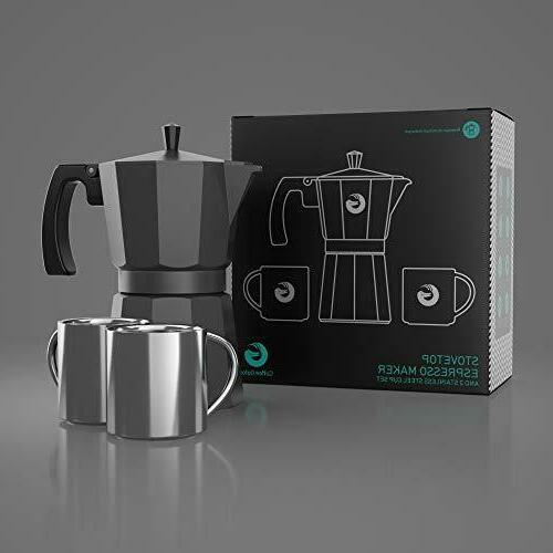 Moka Pot Stovetop Maker Coffee Gator, Rapid Top Brewer -