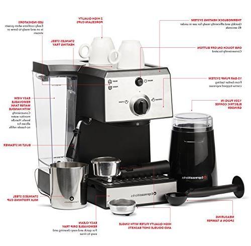 7 Pc Machine & Barista Set w/Built-In Steamer & Stainless