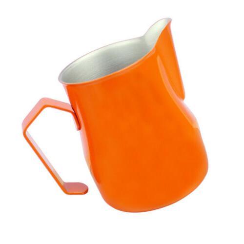 orange frothing milk pitcher for espresso latte