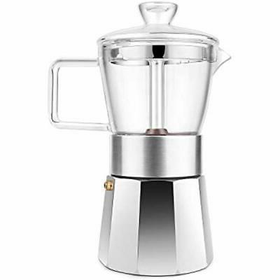 premium crystal glass top stovetop espresso moka