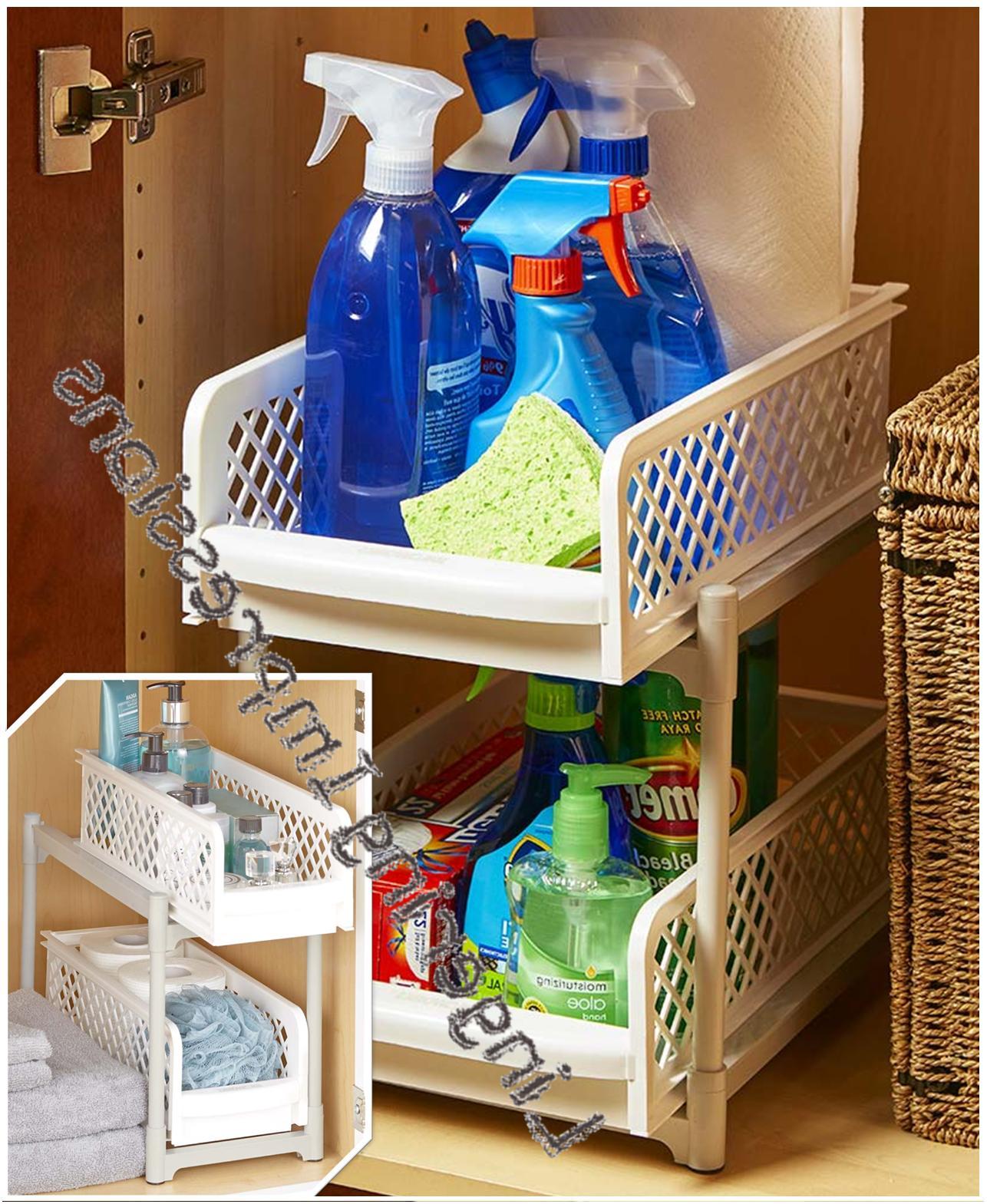 sliding 2 basket drawers organizers storage bins