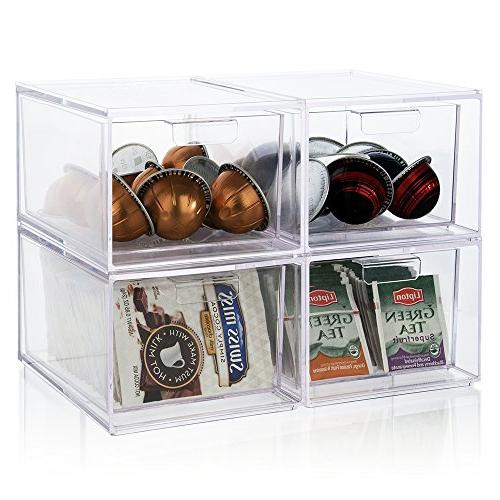Stackable Clear Pod Organizer Drawers of 2