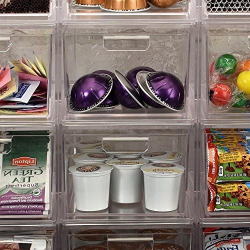 Stackable Clear Plastic Coffee Pod Organizer Drawers of