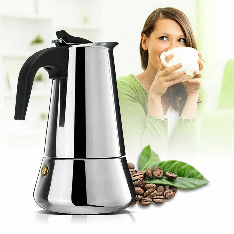 stainless steel espresso maker with silicon handle