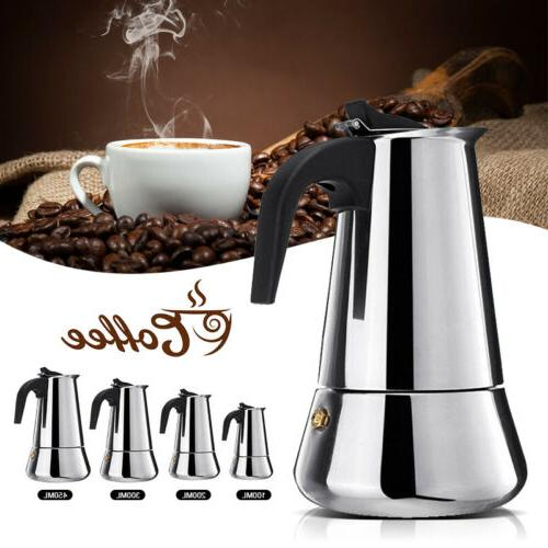 Stainless Steel Moka Espresso Coffee Pot Stovetop cups