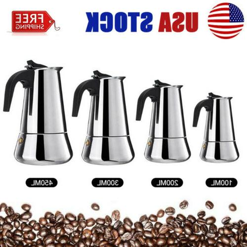 stainless steel moka espresso coffee pot maker