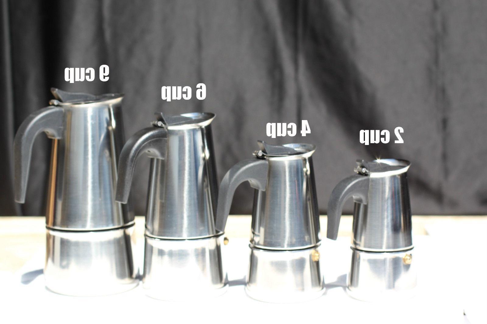 Stainless Steel Moka Stovetop 2/4/6/9