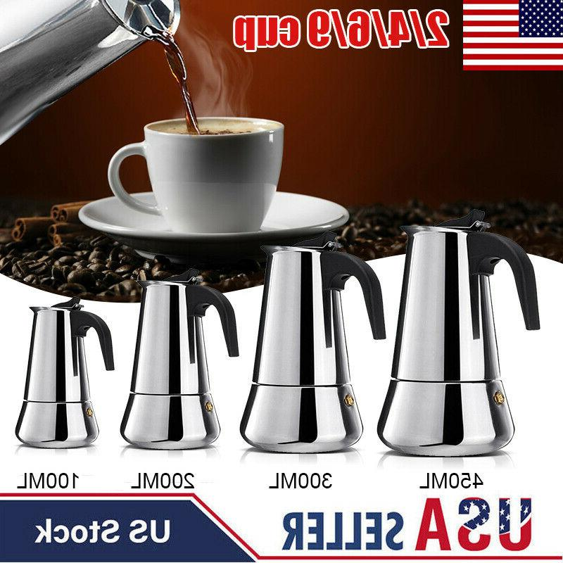 stainless steel stovetop espresso coffee maker moka