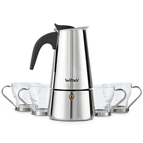 VonShef Stovetop Espresso Maker with Glass Demitasse Cups, Stainless 6