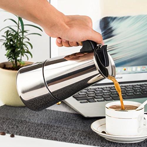 Steel Moka Coffee Maker 9