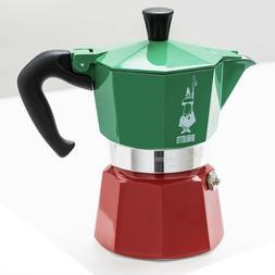 Moka Express 3 TRICOLOR 3 Cup stovetop Espresso maker Italia