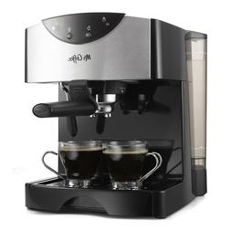Mr. Coffee Espresso Cappuccino Maker, 2 Shot Pump Black Frot