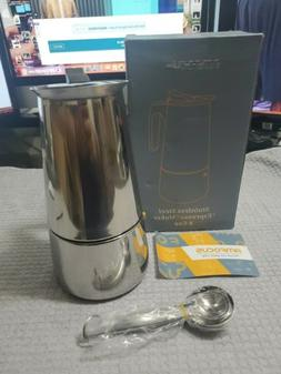 New AMFOCUS Stainless Steel Stovetop Espresso Maker 9 cup