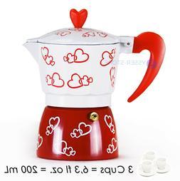 NIB 3 Cups Aluminum Espresso Maker Cafetera Red Heart Design
