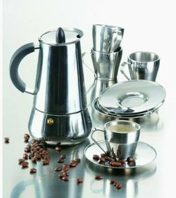 NIB IMUSA 9 PC STAINLESS STEAL ESPRESSO SET 4 Cups & Saucers