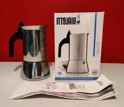 NIB Bialetti Venus Induction Stainless Steel 4 Cup Espresso