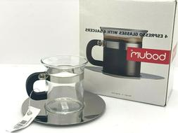 NIB Vintage Bodum Espresso Glasses with Saucers Box of 4 - 2