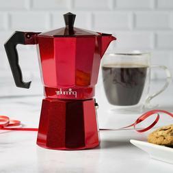 Primula Pere - 3306 6 Cup Aluminum Espresso Coffee Maker Red