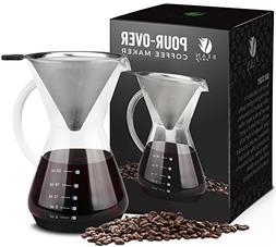 Bean Envy Pour Over Coffee Maker - 20 - oz Borosilicate Glas