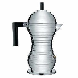 """Alessi """"Pulcina"""" 6 Cup Stovetop Espresso Coffee Maker - Blac"""