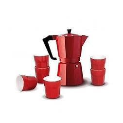 Pezzetti Red Percolator Coffee Pot With 6 Espresso Cups Stov