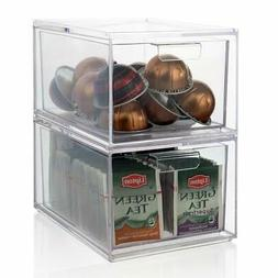 Stackable Clear Plastic Coffee Pod and Tea Bag Organizer Dra