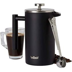 VonShef 34oz Stainless Steel French Press with Spoon, Matte