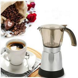 StainlessSteel 3/6 Cup Electric Coffee Maker Moka Pot Espres