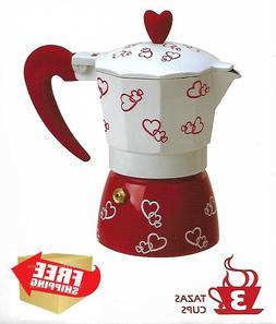Stove Top Cuban Coffee Espresso Maker 3 Cup Red Heart Design