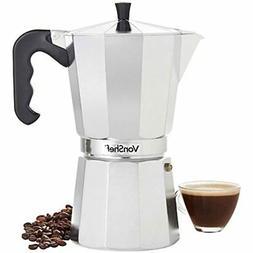 Stovetop Aluminium Espresso Maker Moka Pot, Chrome, 12 Cup C