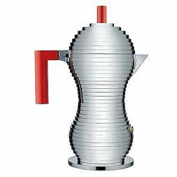 "Alessi ""Pulcina"" 6 Cup Stovetop Espresso Coffee Maker Red, N"