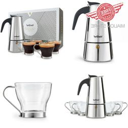 VonShef Stovetop Espresso Coffee Maker with 4 Glass 6 Cup de