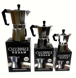 StoveTop Espresso Cuban Aluminum Coffee Cafetera Maker 1,3,6
