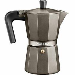 AICOOK Stovetop Espresso Machine, 6 Cups Moka Pot, Espresso