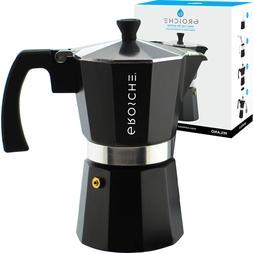 Stovetop Espresso Maker Moka Pot 6 Cup 9.3 Ounce Black Cuban