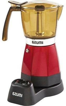 IMUSA USA Electric Espresso Moka Maker, 3-6 Cups, Red