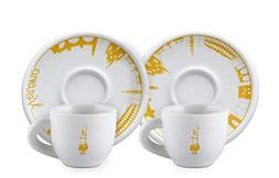 """Bialetti:"""" Verona"""" Set of 2 Coffee Cups and Saucers"""
