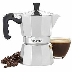 VonShef Stovetop Aluminium Espresso Maker Moka Pot Chrome, 3