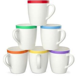Vremi 12 oz Coffee Mugs Set of 6 - White Ceramic Porcelain M