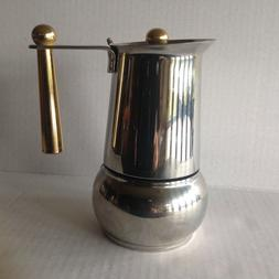 Vtg Stovetop Espresso Maker Guido Bergna GB Italy Kitty Oro